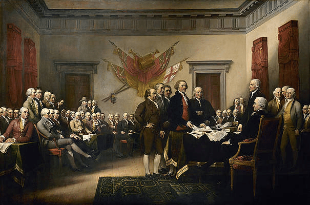 A portrait depicting the Declaration of Independence.